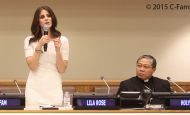 A UN conference room filled with nearly 400 young people sitting in diplomats' chairs leapt to their feet to applaud a young woman last night. Lila Rose and h