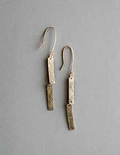 Loa Designs Brass Snake Bar Earrings