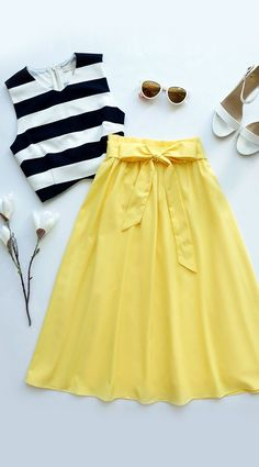 Spring/Summer/Work (Canary Yellow Midi Skirt, black and white top, white shoes)