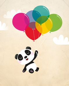 This happy little Panda floats in the sky with his balloons. Simple nursery art for the contemporary home.  This panda is available in blue,