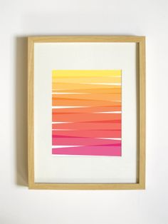 Ombre Art Print - Pink, Orange, Yellow - 8x10 Wall Decor. $20.00, via Etsy.