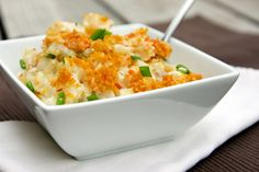 Buffalo Chicken Potato Casserole...this is basically my Nana's Potatoes Deluxe/Funeral Potatoes, but with buffalo chicken!