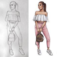 Casual girly glam look  (Pic inspo @dilarakaynarca) #fashionsketch #fashiondrawing #fashionillustration #drawing #illustration #art…
