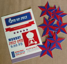 Personalized 4th of July Party Invitation available at: www.etsy.com/shop/styledbykristen