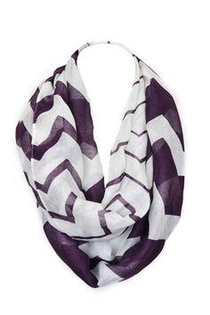 Soft Light Sheer Chevron Infinity Scarf Contrast Colors (Purple) – Niobe Clothing
