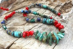 Chunky Turquoise Gemstone Necklace, Handmade with Bamboo Coral, Malachite, Lapis Lazuli, Silver Plated Findings, OOAK - pinned by pin4etsy.com