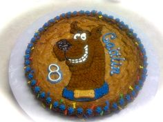 Cookie Cake (moist & delicious) with my daughter's favorite, Scooby Doo!