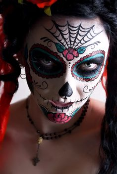 Dias de los Muertos Face Painting - like Halloween henna for your face!