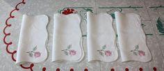 Vintage Pink Floral Linen Napkins: 4-Piece Cross by FelicesFinds