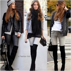 Coffee date looks! Casual Winter Outfits, Fall Outfits, Cute Outfits, Fashion Outfits, Womens Fashion, Fashion Trends, Fashion Beauty, Over The Knee Boot Outfit, Edgy Style