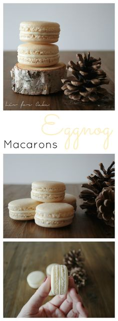 These eggnog macarons are the perfect treat for the holiday season and a great use of any leftover eggnog!   livforcake.com