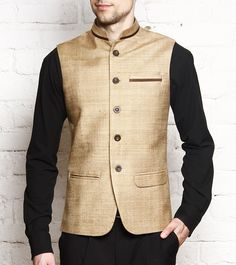 alternative raw silk soft gold nehru vest with coral work, over beige kurta Indian Men Fashion, Indian Bridal Fashion, Mens Fashion, Nehru Jacket For Men, Nehru Jackets, Indian Groom Wear, Indian Wear, Mens Shalwar Kameez, Modi Jacket