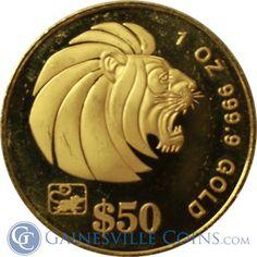 1996 1/2 oz Singapore Proof Gold Lion http://www.gainesvillecoins.com/