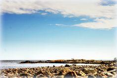 Rullestein stranda på utsiden av Jomfruland