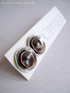 Poppies, silver and copper post earrings | Handmade by Beads and Tricks