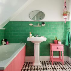 Carly's bathroom space used to have teal-painted walls and dated old white tiles, but not anymore! Now, our Wood Green Metro Tiles proudly adorn the walls, with their bevelled edges. Modern Bathroom Decor, Wood Bathroom, Bathroom Colors, Bathroom Interior Design, Bathroom Flooring, Small Bathroom, Bathroom Ideas, Bright Green Bathroom, Small Toilet Room