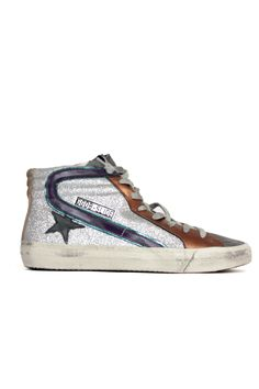 GOLDEN GOOSE SNEAKERS SILVER GLITTER LEOPARD - VOLPI DONNA LUXURY SHOPPING WOMEN'S CLOTHING, SHOES AND ACCESSORIES