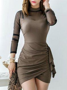 tidestore - tidestore Asymmetric Mesh Joint Pleated Sexy Bodycon Dress -  AdoreWe.com Vestidos Coctel ed97d035139