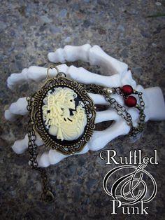 Cameo Necklace Skull Cameo Necklace by RuffledandPunkFrills, $20.00