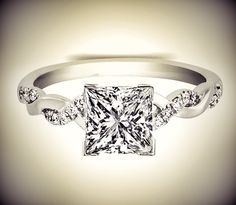 Princess Diamond Petite twisted pave band Engagement Ring.