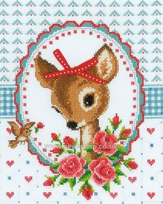 Bambi and Roses Cross Stitch Kit