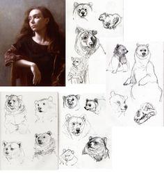 studies of the bear references alongside the portrait I'm using.