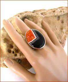 agata ring stone black orange Bague Grosse Agate Agate, Orange, Etsy, Stone, Ring, Handmade, White People, Rock, Agates