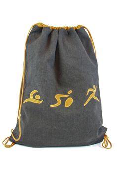 READY TO SHIP - Drawstring bag summer bag sports bag string bag - triathlon present - brown gold - swim, bike, run - fishbone by BagitBag on Etsy