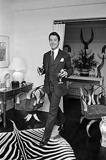 Halston in his NYC apartment, which is as stylish today (though one antler chair would suffice).