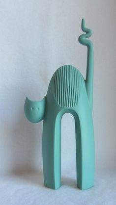 Vintage Aqua Mid Century Modern Cat Figurine Made in Italy 1960 039 s Very Cool | eBay