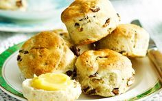 Date and walnut scones with honey cinnamon butter