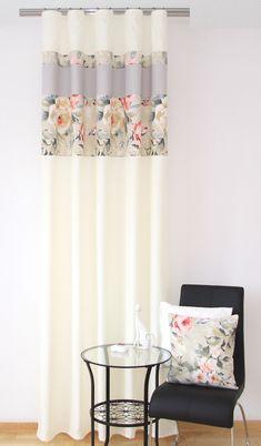 Luksusowa zasłona do sypialni w kolorze kremowym w kwiaty