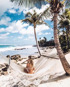 "Debi Flügge | Vegan Diet (@debiflue) on Instagram: ""where I could sit forever #hammock #beach #ocean"""