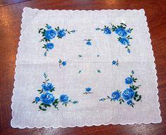 Blue Rose Handkerchief  Bridal  Wedding Favor by CinnamonGirlStuff