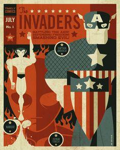 The Spectacular Superhero Poster Art of Tom Whalen Tom Whalen, Captain America, Graphic Design Illustration, Illustration Art, Thor, Posters Vintage, Retro Posters, Superhero Poster, Batman