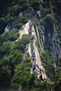 """In front of you is a mountain of Huang Shan or """"Yellow Mountain"""", China. The impressive staircase of stone, The Stairs of Cirith Ungol."""