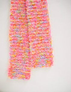 Little Girls Knit Scarf Cotton Candy Pink Toddler by StitchKnit, $17.00