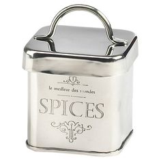 Stow your whole anise seeds or aromatic cloves in this stainless steel jar, a must-have addition to the spice rack or pantry.  Produ...