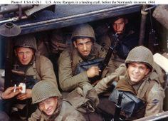 Rangers of E Company 5th Ranger Battalion loading for the D-Day landings in Weymouth, England. 1) 1st Sgt. Sandy Martin who was KIA on 6 June, 1944 2) T/5 Joseph J. Markowitz 3) Cpl. John B. Loshiavo and 4) PFC Frank E. Lockwood