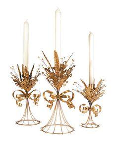 Look at this #zulilyfind! Golden Taper Candleholder Set by C & F #zulilyfinds