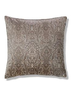 Neutral Paisley Print Velvet Cushion