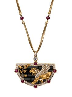 Necklace Ishtar Gate  CO 1634.1     Yellow Gold 18KT, Diamonds, Rubies and Onyx #Magerit #BabylonCollection #jewels