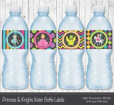 Princess and Knights Water Bottle Labels - Digital Printable File - INSTANT DOWNLOAD