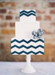 Chevron cake - blue and white