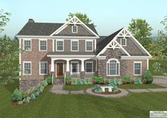 This charming 2,493 square foot home features a split 3-car garage with a workshop, a spacious front porch and a brick, stone and siding exterior with shake accents and Craftsman-inspired details.