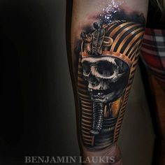 Spooky skeleton pharaoh tattoo by Laukis