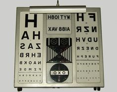 '60's eye chart. Different sections light up.
