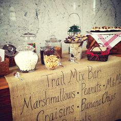 Our version of the trail mix bar was a hit! Burlap and birch wood