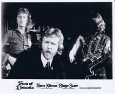 "Promotional Still for the musical comedy film ""Son of Dracula"" (1974), directed by Freddie Francis and starring musicians Harry Nilsson and Ringo Starr"