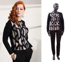 0f328b9c142 Комфортный женственный свитер с геометрическим узором выполнен из  трикотажной ткани высокого качества. Ткань очень мягкая